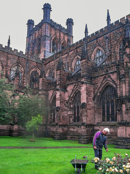 Around the side of Chester Cathedral.