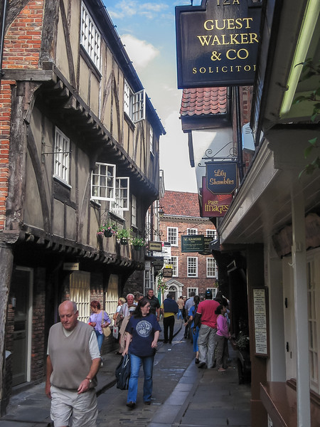 Into York.  The Shambles: narrow, overhung.