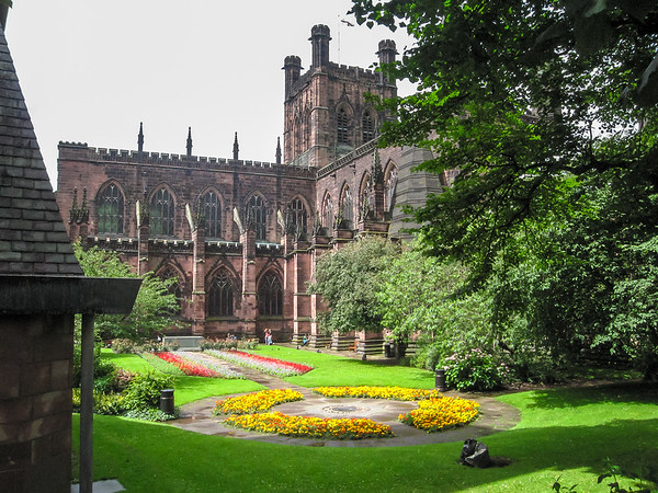 The back of Chester Cathedral from the City walls.