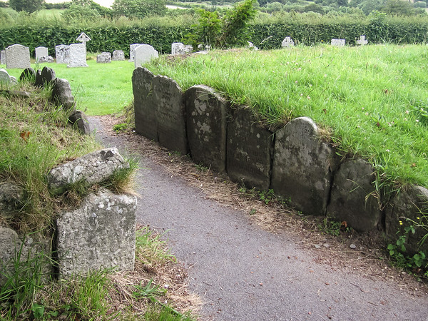 A non-standard use of old tombstones.  St. Pancras at Widecombe-in-the-Moor.