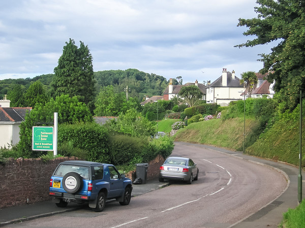 Sunday, July 8.  Today was a driving day.  Back toward London, then west on the M4 and the M5, eventually to Torquay in Devon.  Our lodging is the Fairmount House, in a neighborhood that looks dangerously like the next one up the hill from our home in Rockridge.