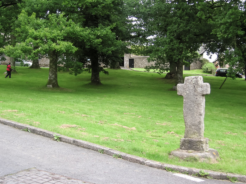 North Bovey town cross and village green.