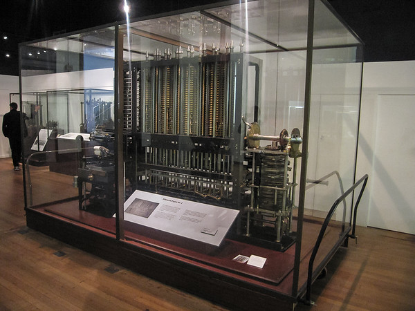 But what I really came to see were Babbage's machines.  This is the  Difference Engine #2, from a c.1840 plan.  The plans were never executed in the 19th century.  This is the first one built.