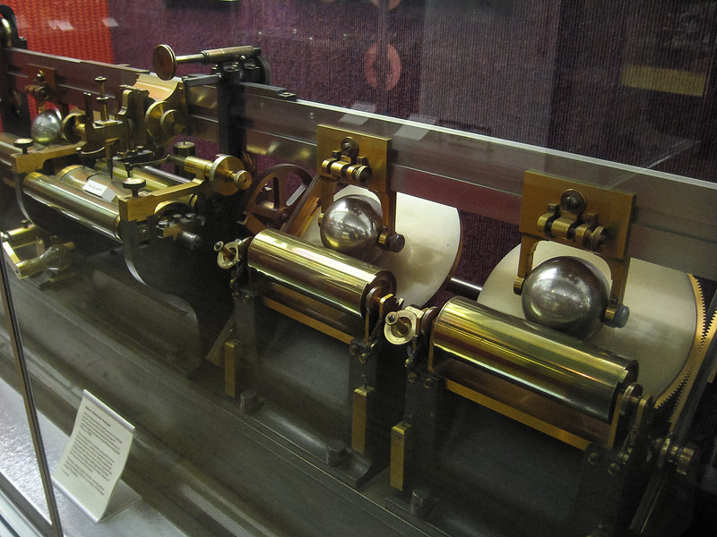 There was other computational machinery about.  This is Kelvin's harmonic analyzer (1878) -- an analog device.