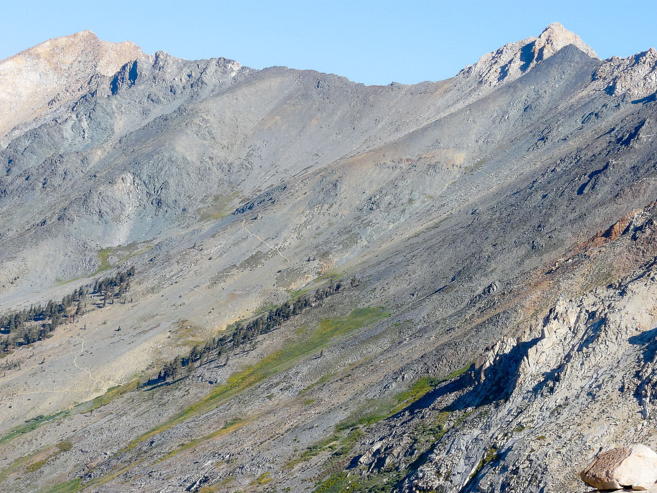 Looking north and up from the Columbine Lake area: Black Rock Pass and the trail to it.
