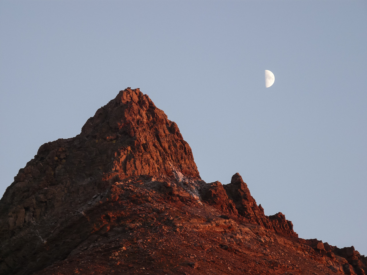 Mineral Peak and a first quarter moon.