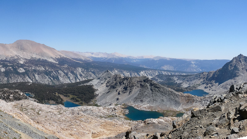 The grand view from Black Rock Pass: Kaweah Peaks Ridge, Lower 5 Lakes, Big Arroyo, Chagoopa Plateau, Kern Canyon, Big 5 Lakes.