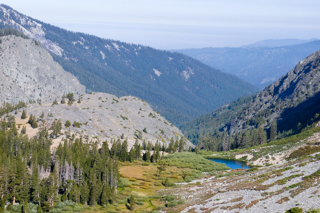 Thursday, September 4.  Climbing out from camp: Pinto Lake and the Cliff Creek canyon.