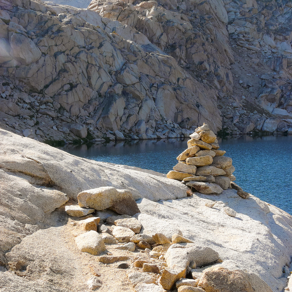 The well constructed trail ends at Columbine Lake, replaced by a rough trail marked by these huge cairns.