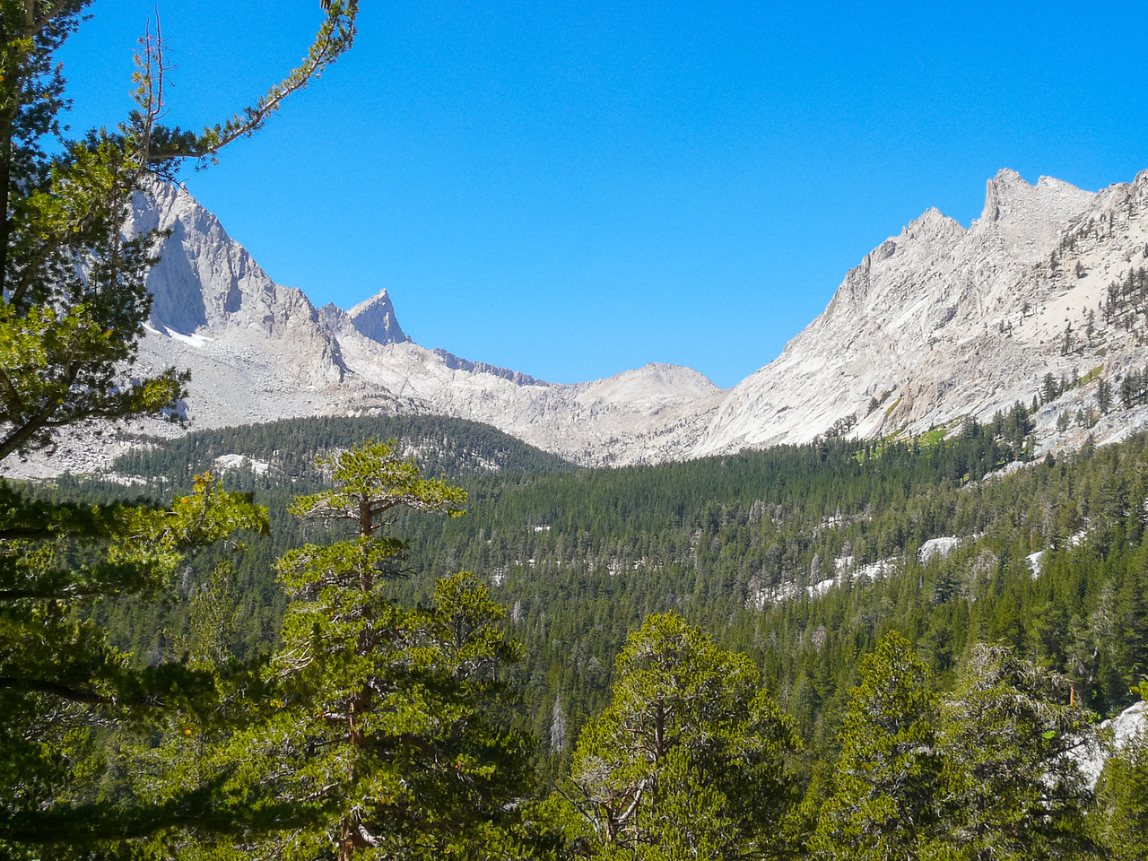 A view up Lost Canyon, with Sawtooth Peak just sticking up.