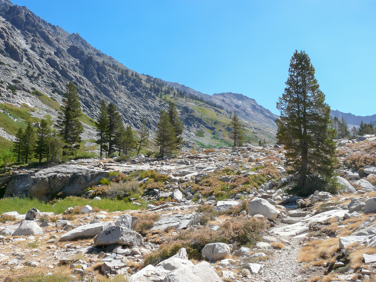 The subsequent approach to Piute Lake was often open and rocky.