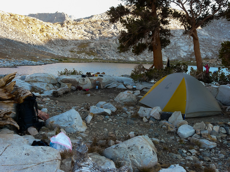 My camp on the highest of the Little Five Lakes as the shadows lengthen.