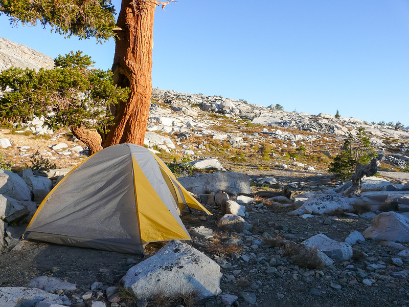 My campsite in the morning light.  It was brisk.