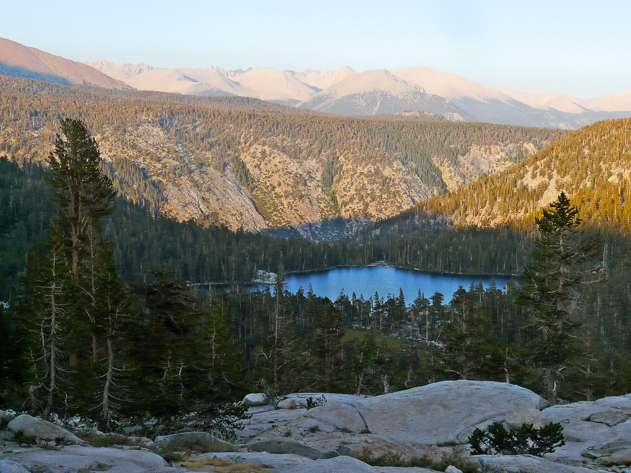 Just beyond camp was this view down to the lowest Big Five Lake: Lake 9830.