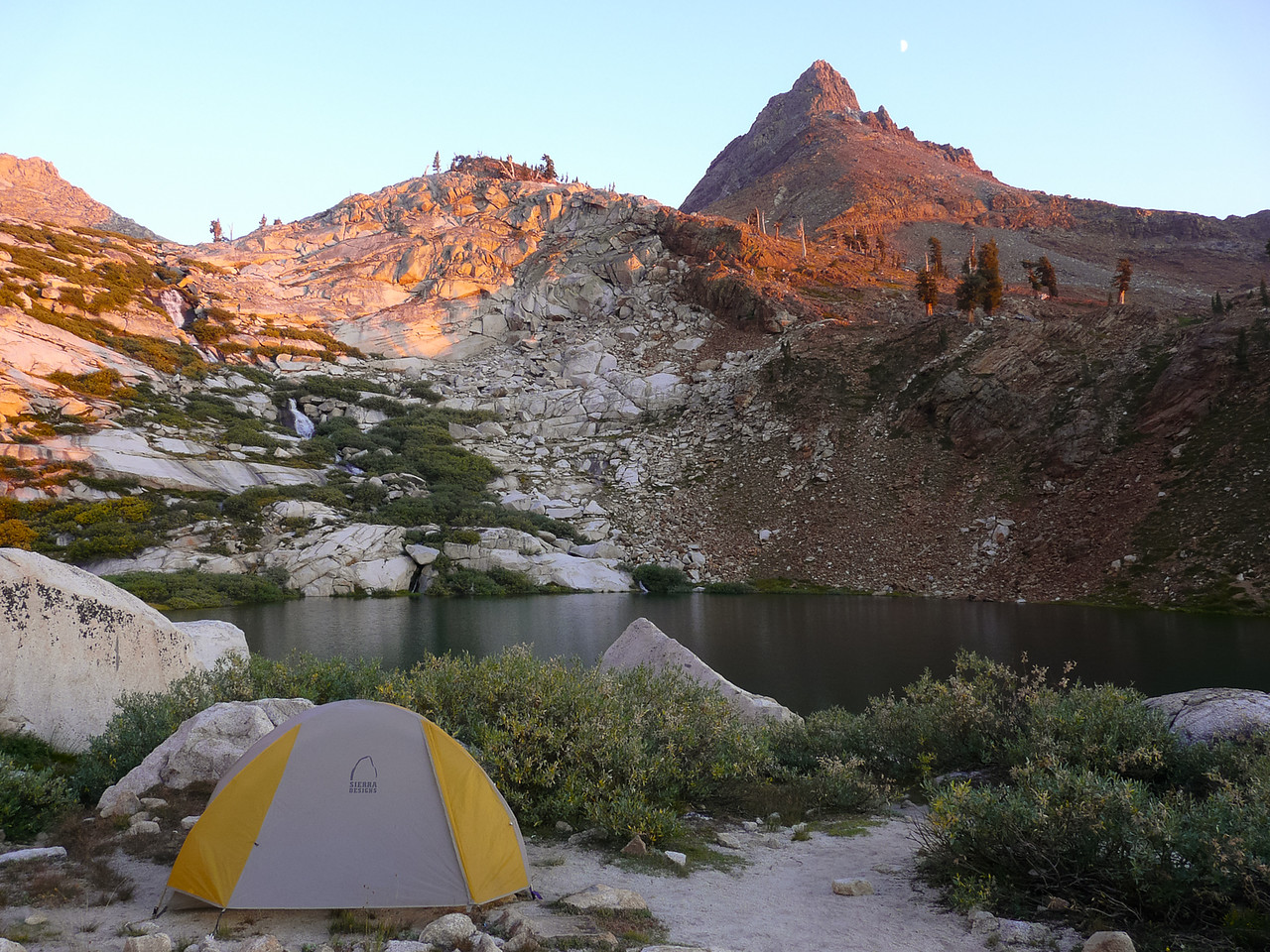 Camp at the Lower Monarch Lake that evening.