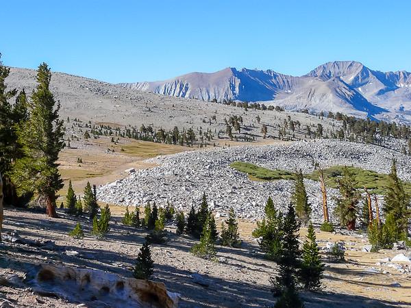 Looking southwest.  Kaweah Peaks Ridge and, at left, the Bighorn Plateau.