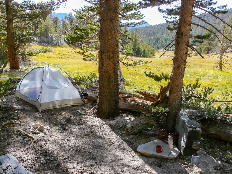 My camp on the edge of Sandy Meadow.