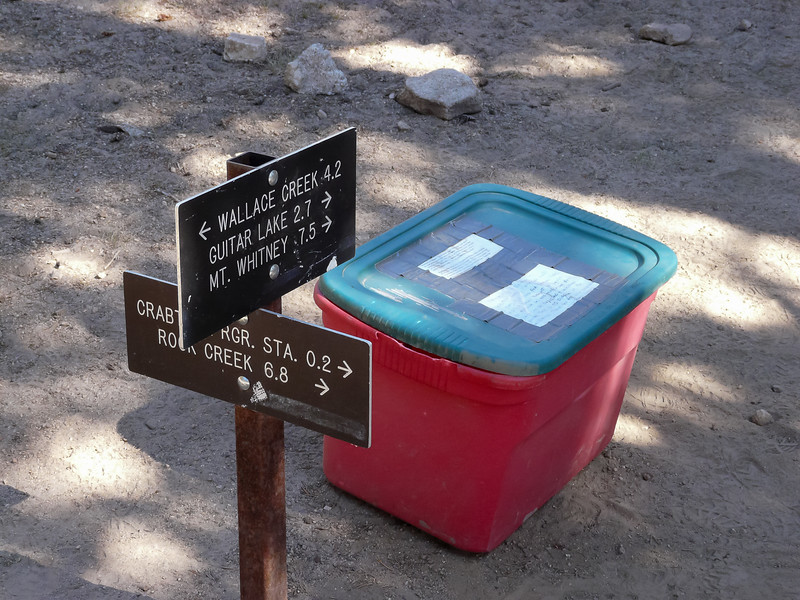 """At the Crabtree Ranger turnoff, you get your """"poop-out pack"""".  The sign says the mountain is close."""