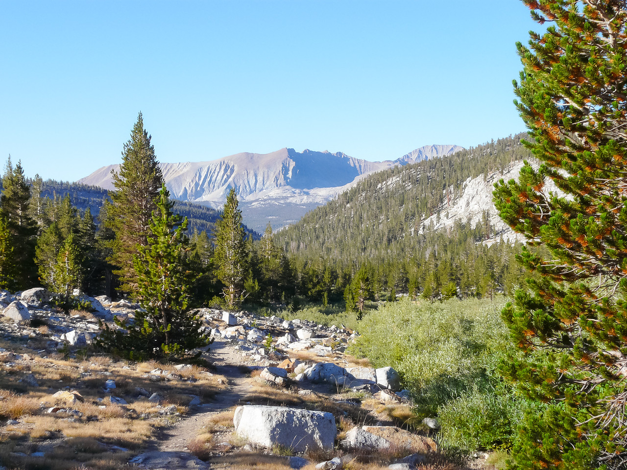 Day 6 - Wednesday, September 9.   On the JMT just past the Tyndall Creek camp.  Tyndall Creek itself is at the right.