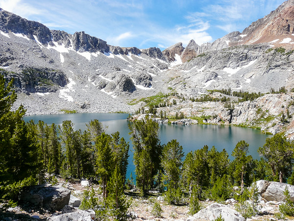 Big McGee Lake.  Hopkins Pass is one of the notches off to the left the gully in the middle of the picture.