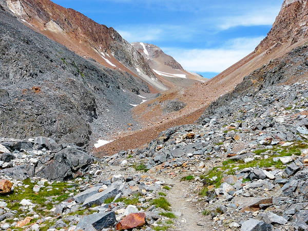 And here I go, beginning the rocky (but colorful) push up to McGee Pass.  The pass is up then off to the left.