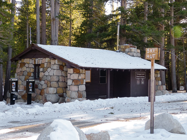 I walked back to the car on a mostly deserted Tioga Pass Road.  The campground reservation building doubles as a skier's shelter in winter.