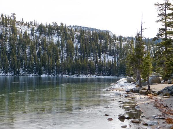 Tenaya Lake was mostly frozen, if thinly.