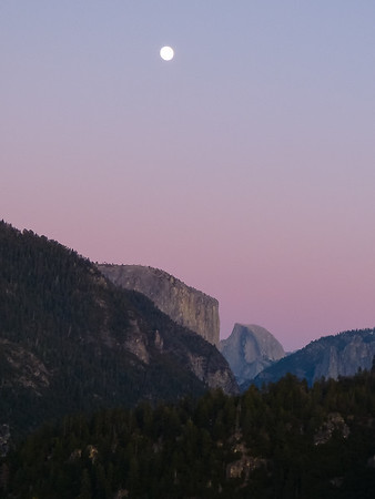 The Half Dome Overlook as I approach the valley.  Almost a full moon tonight.  I had dinner in the Valley then stayed at Cedar Lodge in El Portal.