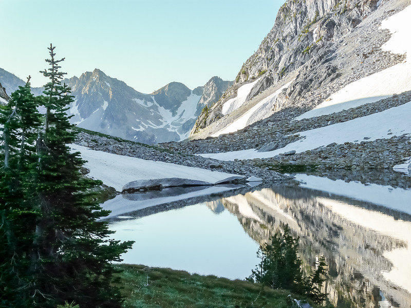 At the far end of Sawtooth Lake is the low pass to the Baron Creek drainage.