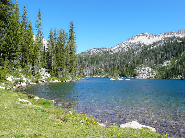 I had lunch on the shores of Hidden Lake. Jumping fish. Two campers setting up nearby.