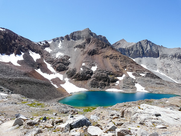 Coming down: the highest tarn.
