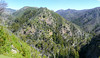 A panorama beyond the split of the South and North Forks of the Big Sur River.