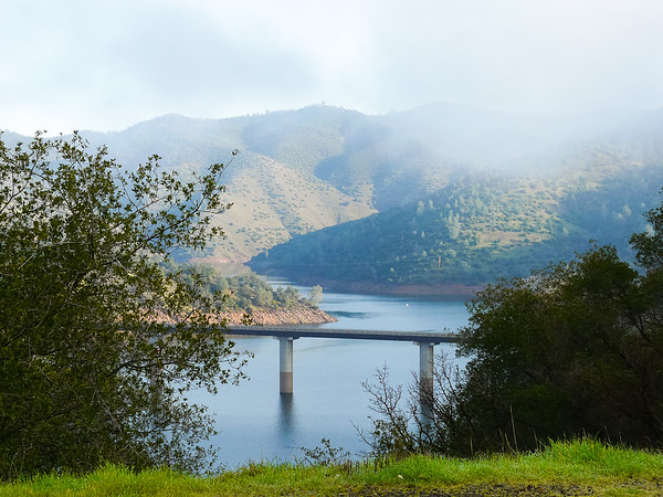 Stop #1:  Don Pedro Reservoir in the foothills.  The fog was just lifting at the Vista Point at the east end.
