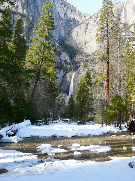 Just a bit west: Yosemite Creek and the lower falls.