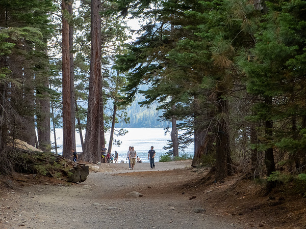 Sunday, August 12.  We drove to the Fallen Leaf Lake Campground.  First stop: the beach.