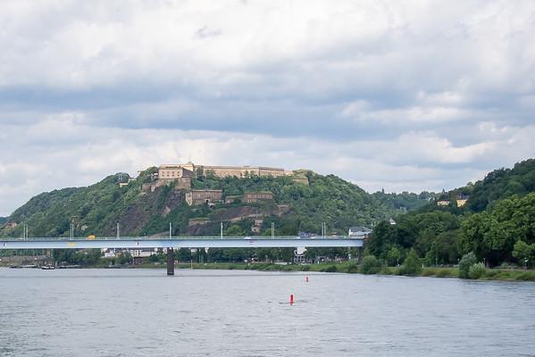 Ehrenbreitstein fortress sits across the Rhine from Koblenz.