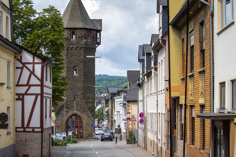Driving back through Braubach.  We were supposed to meet the boat here, but diverted to Koblenz.  The boat needed minor repairs.