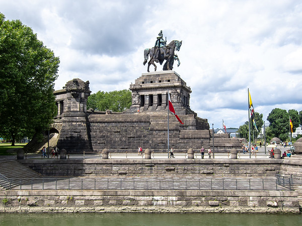 """Das Deutche Eck in Koblenz has this statue of Kaiser Wilhelm I, labeled """"Wilhelm dem Grossen"""".  (Why the dative case?  I learned rather later that it's a salutation: """"To William the Great."""")"""