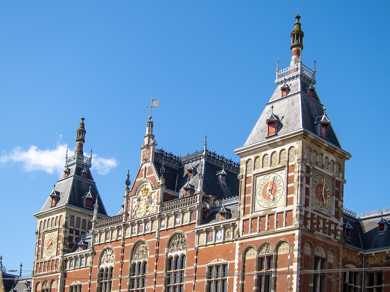 Friday, July 13.  We arrived in Amsterdam in mid afternoon.  I took a short walk.   The Central Train Station.