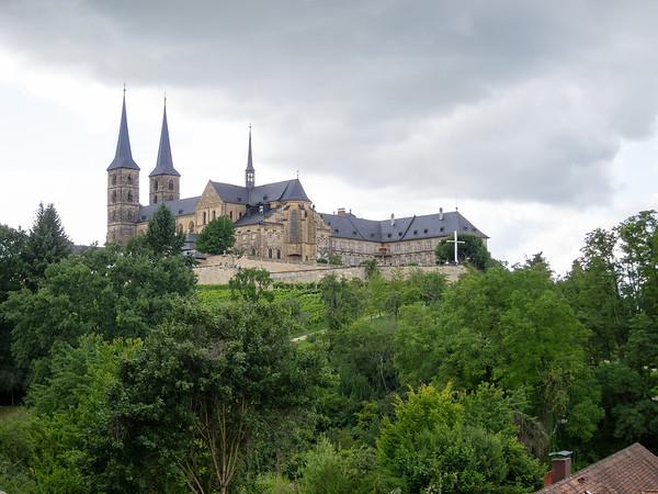 Michaelsberg Abbey, as seen from the rose garden in Bamberg's Neue Residenz.