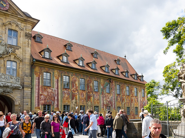Bamberg's old town hall (Das Alte Rathaus), built on pilings *in* the left arm of the River Regnitz.