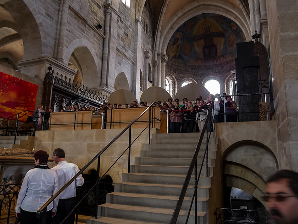 Then, unexpectedly, music came from behind.  In the resonant acoustics of a cathedral -- and the low light -- it was magical.