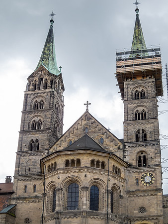 The Bamberger Dom from the front.  The city is celebrating the cathedral's millennium this year, although the current building is only 750 years old.