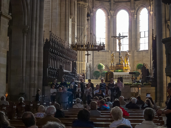 As we entered the Bamberg cathedral, we heard a small chorus singing in front.