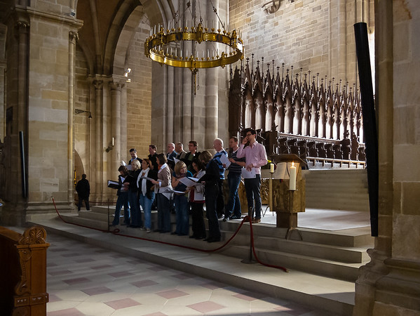 The two choirs (one here, the other in the rear loft) at the Bamberg cathedral were from the Domkantorei, practicing for a concert the next day.