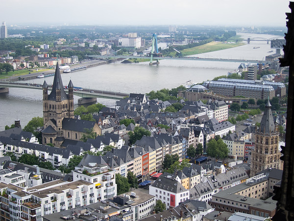 The view from the top of the cathedral's south tower.  The Rhein and Groß St. Martin church, plus the Alter Markt and the Ratsturm.