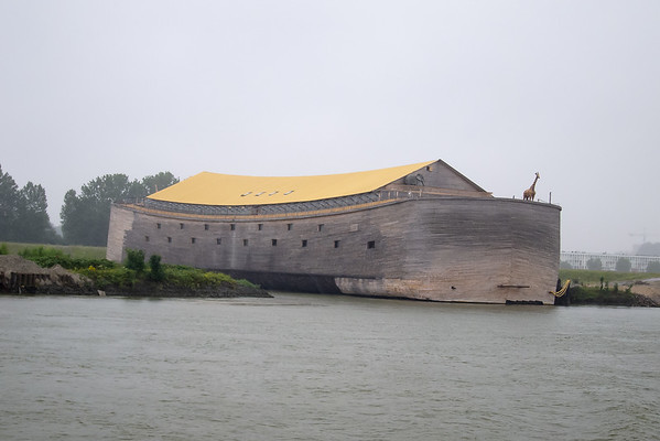 """In the afternoon, we cruised the rivers that make up the Rhine delta.  """"Noah's Arc"""" on the Beneden Merwede (Lower Merwede) near Dordrecht.  It's raining."""