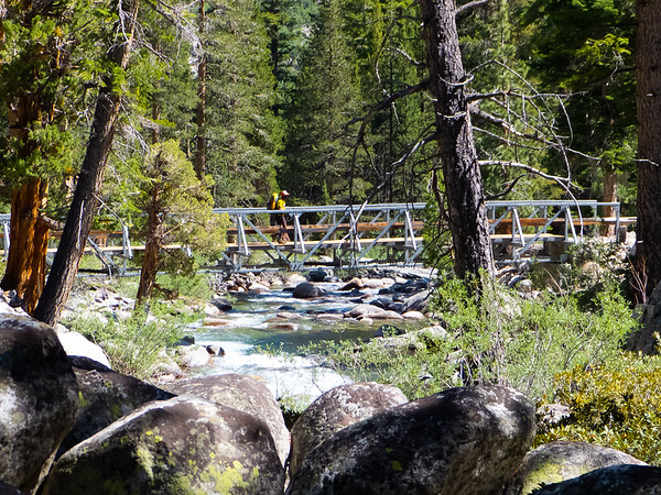 Finally, after a rocky last strech, the JMT bridge comes into view.