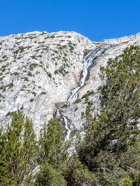 The creek from the Royce Lakes, pouring over the canyon-side.