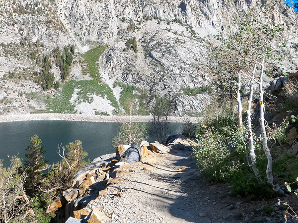 Wednesday, August 29.  On the Bishop Pass trail, just out of the South Lake trailhead.  Climbing above the lake.